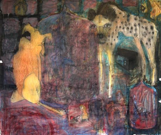 Freya Pocklington, The Capulet's Ball Played by Peritas and a Hyena, 2012, conte crayon and ink on paper, 164 x 188 x 5 cm