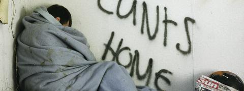 Homeless guy and grafitti