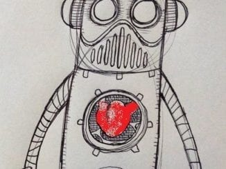 A picture of a robot with a heart