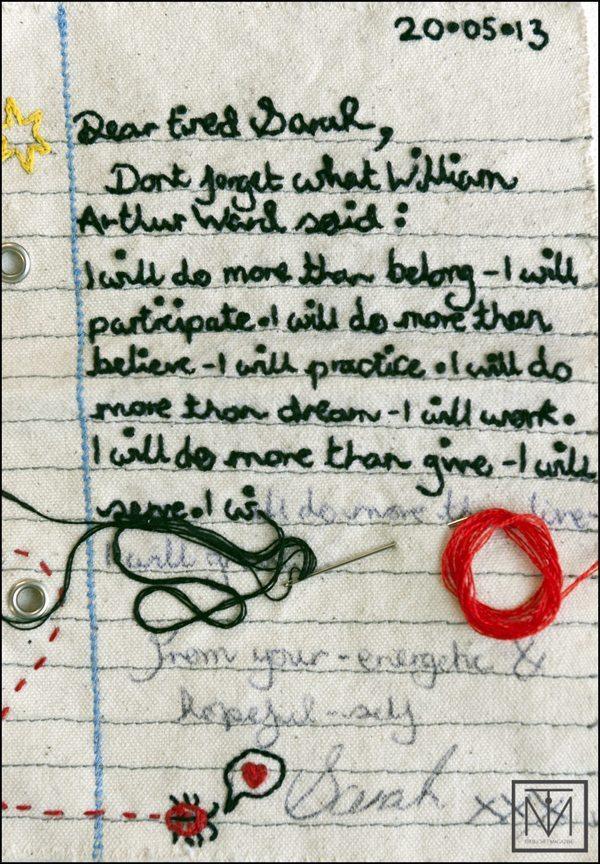 Craftivist Sarah letter