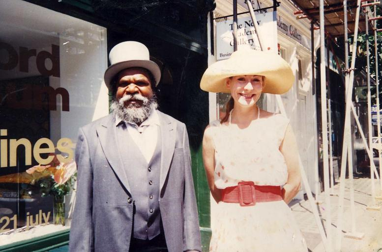 A picture of Rebecca Hossack with Clifford Possum