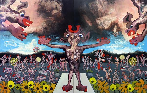 A picture of Last Judgement (Configuration A), Tom de Freston, 2013, oil on canvas, 200 x 150cm (x2 - Diptych)