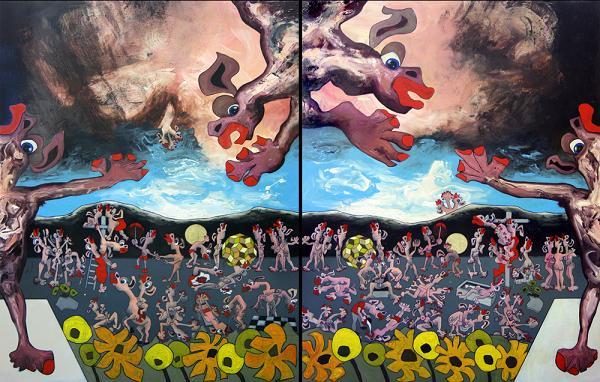 A picture of Last Judgement (Configuration B), Tom de Freston, 2013, oil on canvas, 200 x 150cm (x2 - Diptych)