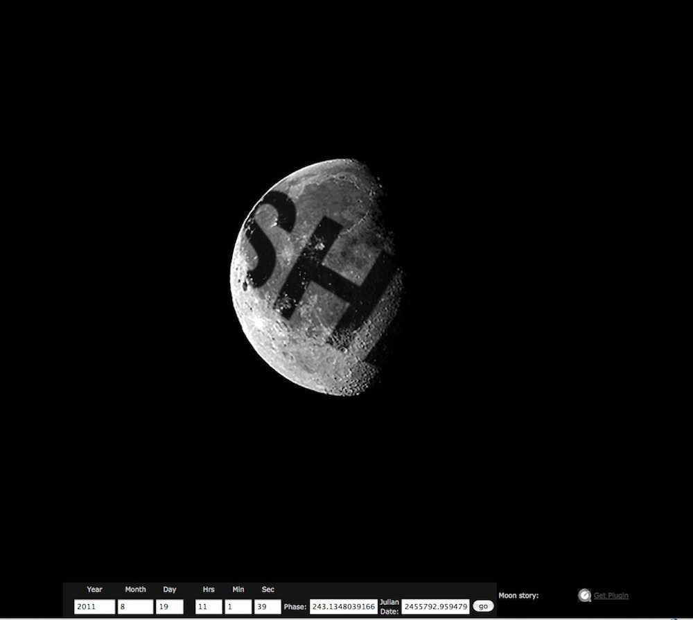 A picture of Liliane Lijn, moonmeme, image of the word SHE projected onto the moon