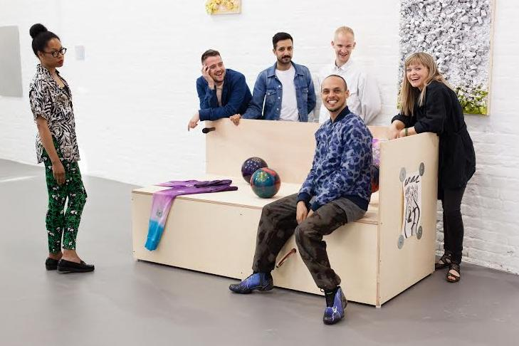 Abstract Cabinet: Artists Anthea Hamilton; Nicholas Deshayes; Prem Sahib; Adham Faramawy; George Henry Longly; and Celia Hempton posing in the exhibition Abstract Cabinet. Image courtesy: Plastiques Photography.