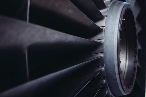 A picture of a jet turbine. Public domain