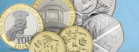 A picture of commemorative UK coins with Kitchener
