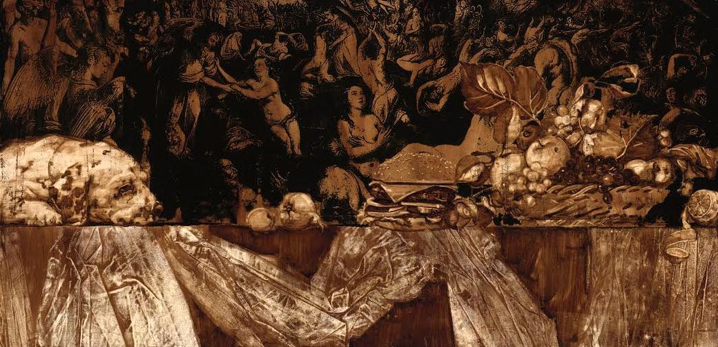 Ilya Gaponov, The Altar of Thyatire no. 2, 2012, bitumen and asphalt varnish on wood, 75 x 152 cm