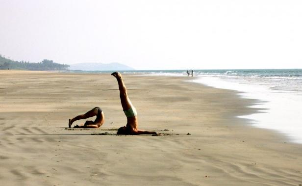 beach yoga by Kyle Lease