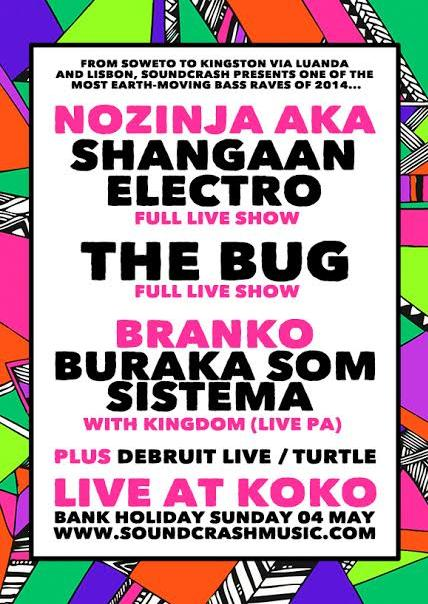 A poster for Shangaan Electro and The Bug at Koko