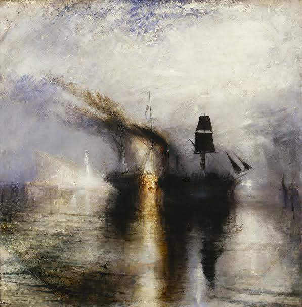 JMW Turner  Peace - Burial at Sea exhibited 1842  Oil paint on canvas support: 870 x 867 mm Tate. Accepted by the nation as part of the Turner Bequest 1856