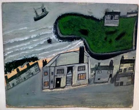 'The Hold House Port Mear Square Island Port Mear Beach', c. 1932 by Alfred Wallis. Oil paint on board