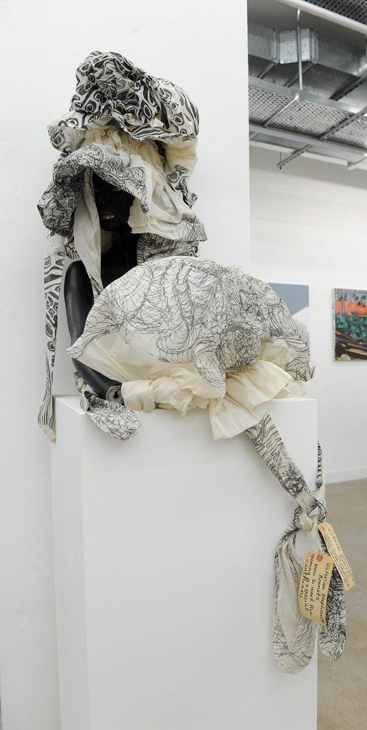 Chudamani Clowes, Elephant head with bonnet, Printed fabric, 2013, 40 x 60cm