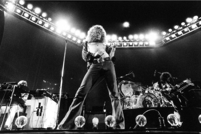Led Zeppelin, performing at Earl's Court, London, May 1975. ©Michael Putland