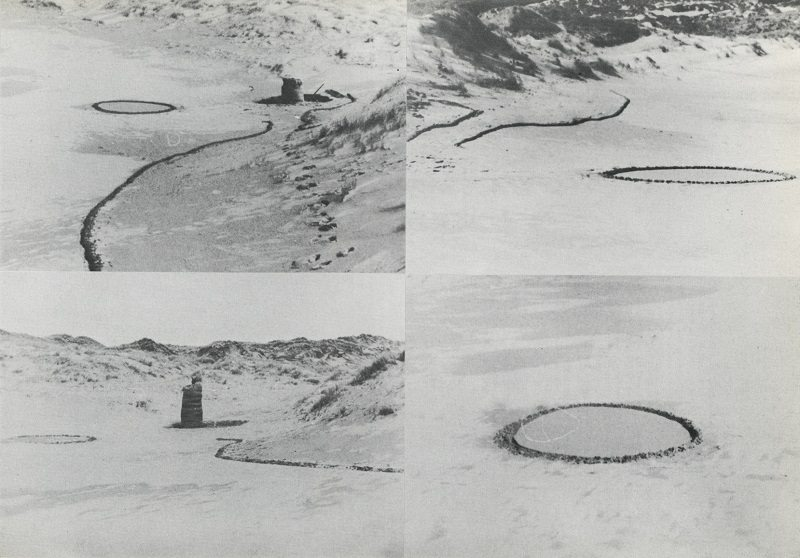 Barry Flanagan, ring, line and easter bag '67 Holywell beach, Cornwall, 1967, as documented in Gerry Schum (ed.), LAND ART, Hartwig Popp, Hanover, 1970 © The Estate of Barry Flanagan, 2015