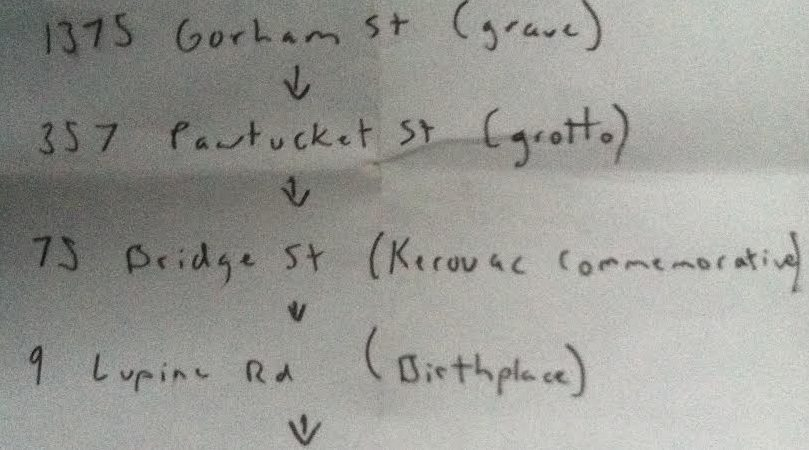 Jack Kerouac Itinerary