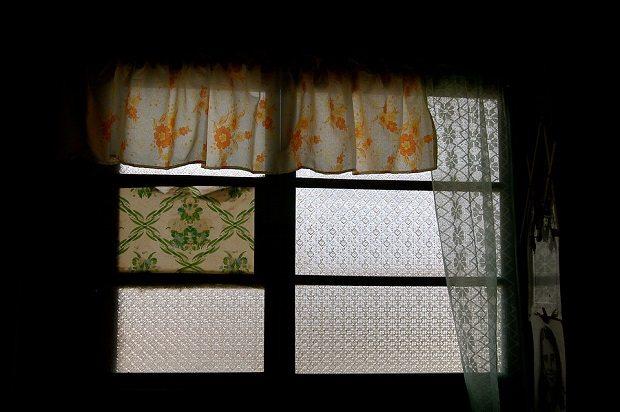 Window, curtains, turnable window