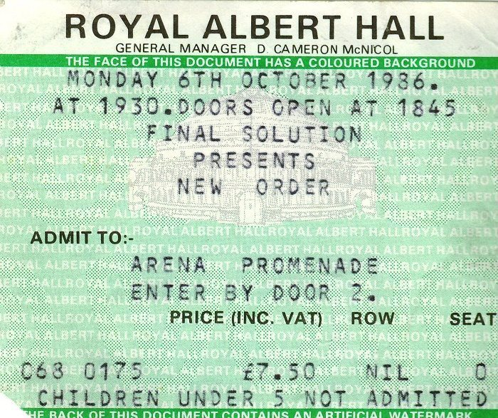 New Order ticket 1986