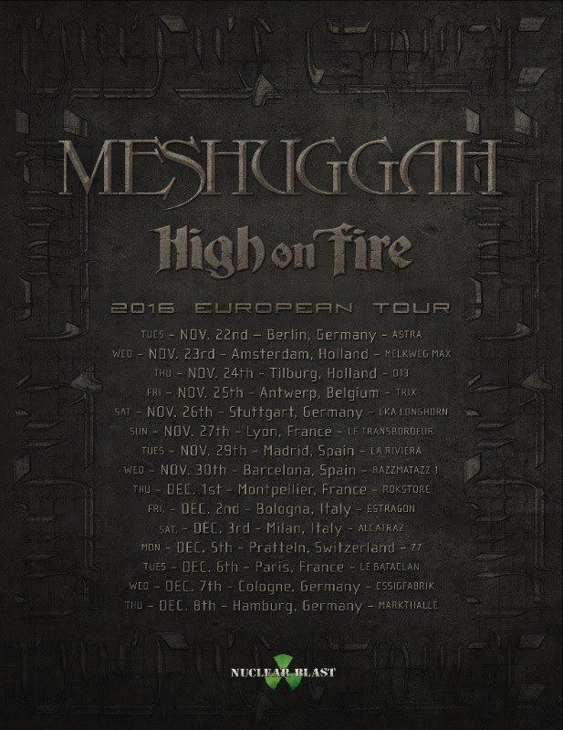 Meshuggah European Tour 2016
