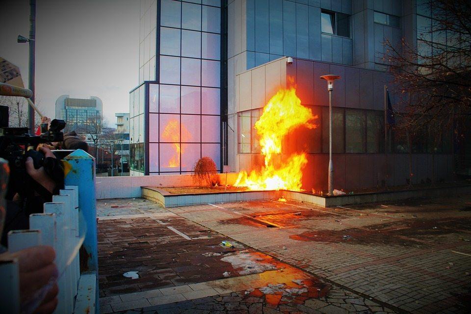 protest riot by viganhajdari, political extremism