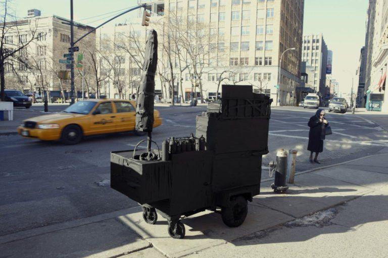 John Clang, Street Vendor, Silhouette/Urban Intervention (Black Tape), 2009