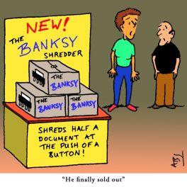 Banksy: Satirical Saturday Cartoon on Art by Alex Brenchley 2018