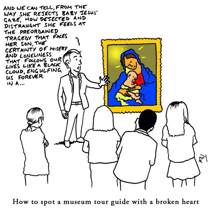 HeartBreak Guide: Satirical Saturday Cartoon on Art by Alex Brenchley 2018